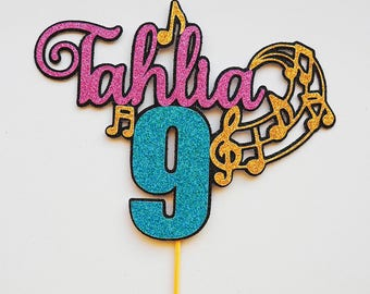 Music cake topper, Glitter cake Topper, cake topper, personalised cake topper, birthday cake topper, disco, personalized, notes, boy, girl
