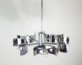 FUTURISTIC CHROME Chandelier // Space Age Mid Century Minimalist Ceiling Light