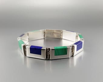 Bracelet Lapis Lazuli and Malachite inlay work Sterling silver - gift idea Christmas - blue and green gemstone - high quality stone and work