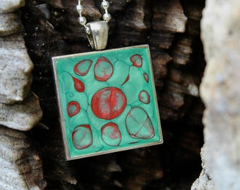 Green & Red Pendant | Hand Painted Silver Necklace | Abstract Art