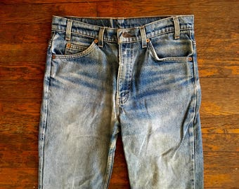 Vintage LEVIS 517 Boot Cut Distressed & DESTROYED Denim Work JEANS 33x31 #5