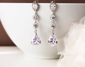 Crystal Bridal Earrings Crystal Drop Earrings Long Bridal Earrings Clear White Cubic Zirconia Dangle Earrings Bridal Jewelry Formal Jewelry