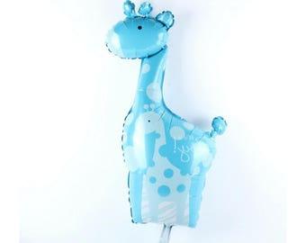 """Giant Its a Boy Giraffe Foil Balloon - blue giraffe 42""""x 25"""""""