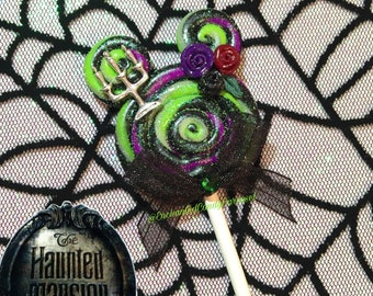 Haunted Mansion Floating Candelabra Disneyland Candy Mickey Ears Lollipop with Charm Polymer Pendant Necklace