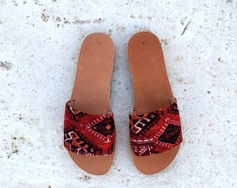 aelia greek sandals slippers with boho fabric