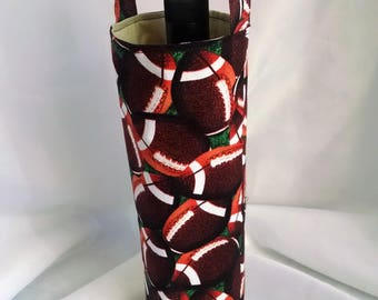 football wine bottle tote, sports theme carryall, Superbowl gift to hostess, birthday gift for him or her, fabric gift wrap bag