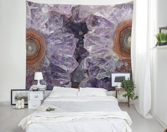 Purple Tapestry, Large Wall Art, Amethyst Art, Mineral Photography, Wall Blankets, Boho Tapestry