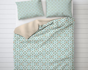 Geometric duvet cover, Housewarming Gift, Shabby chic home decor, Womens Gift, Home Decor, Bedroom, Teal, Vintage, Pattern, Bedding. SP020