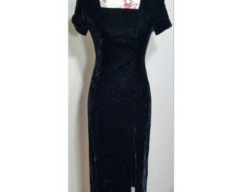 Vintage Talbots Black Velour Dress Size 4P