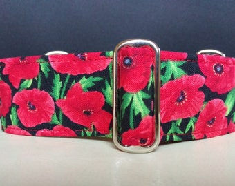 "Martingale Collar - Whippet, Greyhound, Italian Greyhound - 1"", 1.5"" and 2"" width - Poppies"