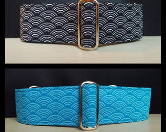 """Martingale Collar - Whippet, Greyhound, Italian Greyhound - 1"""", 1.5"""" and 2"""" width - Japanese Waves - Turquoise and Black"""