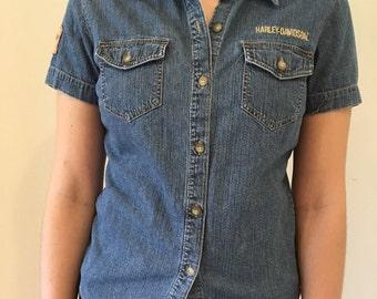 Vintage Harley Davidson Denim Womens Shirt Small