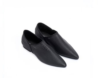 Black Leather Flat Shoes / Women Shoes / Every Day Shoes / Leather Flats Shoes / Comfortable Summer Shoes / Wooden Heels Shoes - Agadir