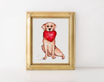 Dog illustration, Valentines Day art, Valentines day gift, Valentines day print, Valentines gift, Labrador sketch, Labrador art