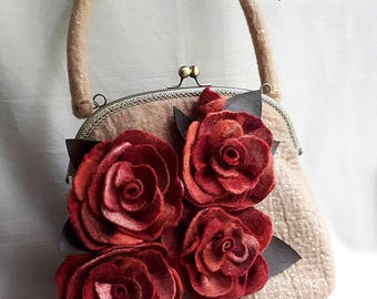 Handmade felted purse, Top handle bag, Wool Purse, Felted handbag, Roses bag, Beige purse, Felt bag