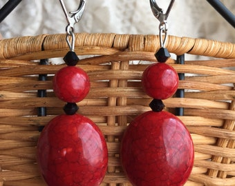 Lulu Final Fantasy X Simple Red Leverback Earrings Cosplay FFX FF10 Final Fantasy 10