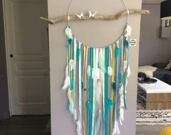 Dream catcher giant 40 cm diameter and length 120 cm, blue and green feathers. Giant model