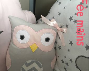 Plush or plush musical OWL or grey OWL and pink unique and original handmade gift