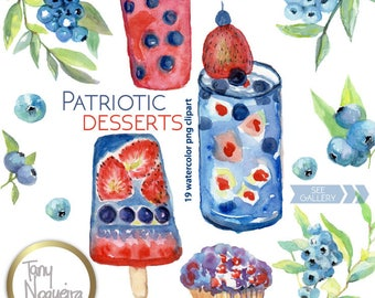 4th. of July  Desserts, drinks, popcicles clip art images watercolor hand painted PNG transparent background for blog cards invitations