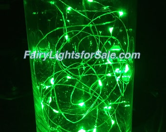 2m/6.6ft 1 set Green 20 LED fairy light string strand cr2032 button battery for DIY, centerpiece, vase, wedding, costume, EDM, St Patrick's