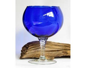 Vintage deep cobalt Bristol blue opotic hand blown glass - brandy snifter, balloon, vase, candle holder, goblet, Italian Empoli Danish hygge