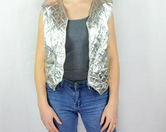 Vintage 90s style women shiny silver vest buttons down casual waistcoat collectible vest 80s apparel old school wear