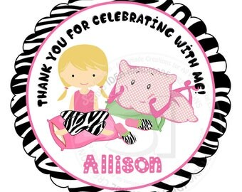 """Custom Sleepover Party Thank you Tags- 2.5"""" Printable Tags-Stickers- Personalized Slumber Party Thank you Tags- Digital file"""