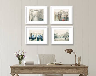 SALE, Venice Prints, Venice Italy Photography, Set of 4 Prints, Venice Wall Art, Europe Decor, Travel, Gallery Wall, Cream, Neutral
