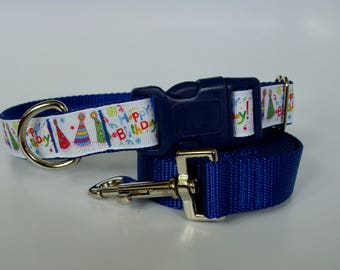 Happy Birthday Party Hat Dog Collar - Blue