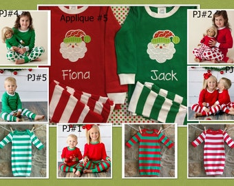 Christmas Pajamas, Christmas Infant Gown, Available with Name and Applique, Name Only, Monogram Only, or Applique Only,  Boy, Girl, Children