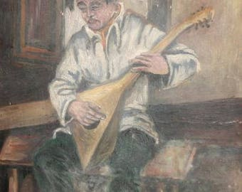1976 Impressionist art oil painting portrait balalaika player signed