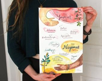Yamas & Niyamas ~ yoga poster