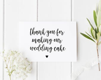 Wedding Cake Thank You Card, Card For Cake Baker, Thank You For Wedding Cake, Card For Wedding Baker, Wedding Bakery Thank You Card