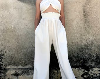 Palazzo Pants, High Waisted Pants, White Trousers, Women White Pants, Summer Pants, Wide Pants, Party Pants, Loose Trousers, Avant Garde