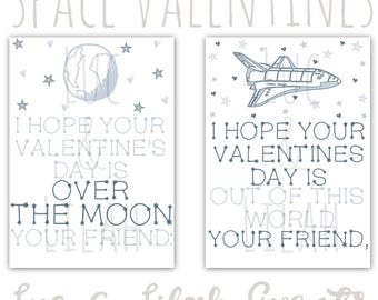 Outer Space Valentine's Day Cards / Outer Space Valentines / Rocket Valentines / Planet Valentines / Spaceship Valentines