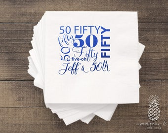 50th Birthday Napkins | Custom Napkins | Birthday Parties | Hot Stamp Foil | Metallic Foil Personalized