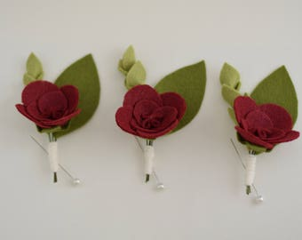 Groomsmens' Boutonnieres - Felt Floral Boutonnieres - felt floral boutineers