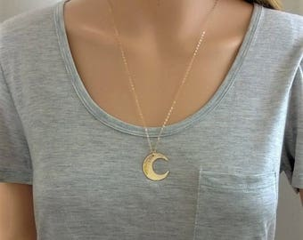 14Kt gold-filled hammered moon necklace; cresent moon necklace; gold moon necklace; big moon necklace; moon necklace gold
