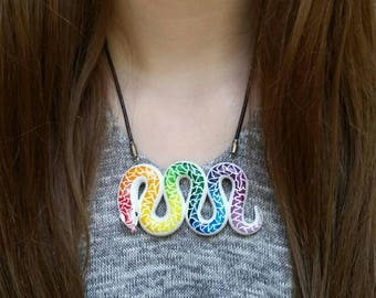 White Rainbow Snake Pendant Necklace. Large, Colorful Polymer Clay Animal Jewelry.