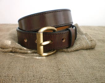 leather gun belt 1.5'' heavy duty 1/4'' thick casual handmade veg tan hand dyed stitched