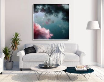 Night Sky Painting, Fine Art Skyscape, Clouds Painting Print, Cloudscape Painting by Corinne Melanie Art