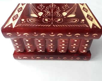 Jewelry box magic box mystery box big puzzle box red secret box trinket box handcarved wooden box hidden drawer brain teaser challenge gift