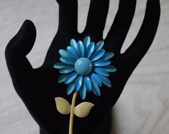 Blue Flower Pin, Vintage Enameled Pin
