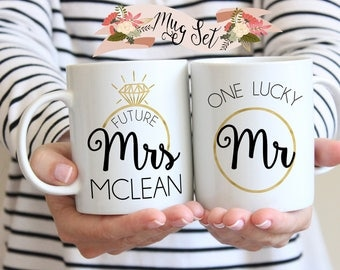 Engagement Mugs, Engagement Mug Set, Engagement Mug, Engagement Gifts for Couple, Engagement Gifts for Best Friend, Mugs for Couples