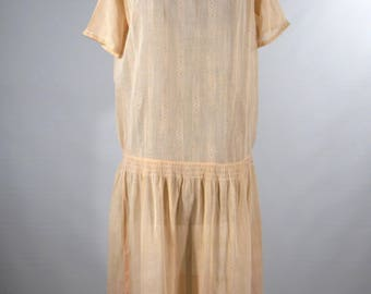 Vintage 1920s day dress cotton organdy Mori girl peach color size small size 6