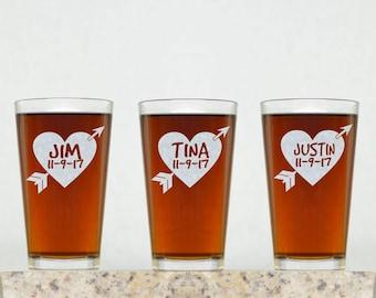 Wedding Glass | Personalized Wedding Pint Glass, Wedding Gift, Party Favor, Wedding Party Gift, Bridesmaid Gift, Groomsman Gift, Custom Pint
