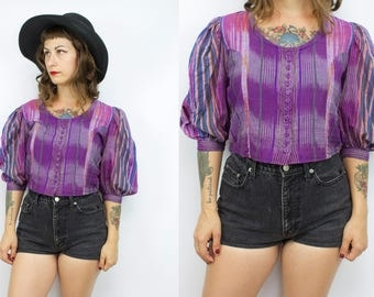Vintage 70's Purple Striped Indian Cotton Blouse / 1970's Cropped Cotton Top / Puff Sleeves / Women's Size Small / Medium