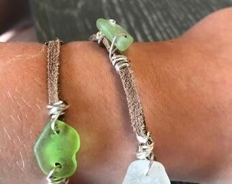 Beach Glass Wrap Bracelet