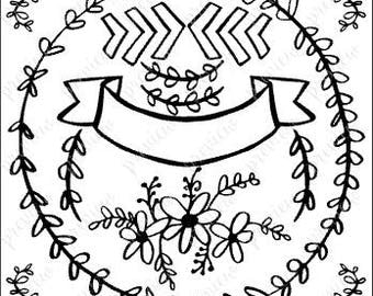 Floral Borders and Banner (SVG) Hand-drawn