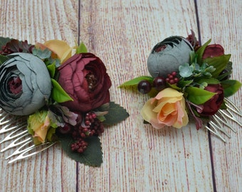 Gift/for/wife Burgundy flower comb Peach grey flower comb Wedding hair piece Bridal flower headpiece Wedding hair accessory Flower girl hair